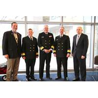 """The President's Panel"" helped to bring the 10th Annual Maritime Risk Symposium to a close yesterday. (L to R); Eric Johansson, SUNY Maritime; RADM Michael E. Fossum, Superintendent, Texas A&M Maritime Academy; RADM Michael Alfultis, President, SUNY Maritime College; RADM Francis X. McDonald, President of Massachusetts Maritime Academy, and moderator RADM Fred Rosa (USCG, Ret.), Johns Hopkins APL. (Photo: SUNY Maritime)"