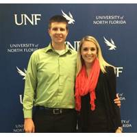 UNF seniors Matthew Petrone (left) and Olivia Musselwhite (Right) each received $2,500 from Crowley toward their continued education. (Photo courtesy of Crowley)