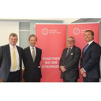 L-R: John Hulmes - Chairman of Mersey Maritime; Alderman the Lord Mountevans of Chelsea – Chairman of Maritime London; Doug Barrow – CEO of Maritime London; Chris Shirling-Rooke, Acting CEO, Mersey Maritime