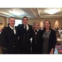 Left to Right: CMA cadets Griffin Sims, Alex Leonard, Bonnie Claire Muchnick and Crowley's Victoria Ellis (Photo: Crowley)