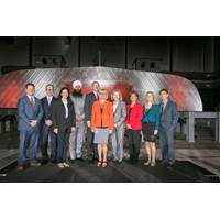 MP Randeep Sarai, Jonathan Whitworth - Seaspan CEO, and Brian Carter – President, Seaspan Shipyards with the recipients of today's multi-year, multimillion dollar investment in the training of BC's future shipbuilders (Photo: Seaspan)