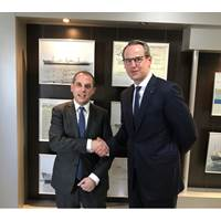 """""""The Minister of Transport, Communications and Works of the Republic of Cyprus, Mr Marios Demetriades, welcomes the newly appointed Sales Executive in Germany, Mr Christian Bahr"""" (Photo: Cyprus)"""