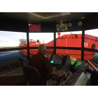 Captain Arbogast, Houston Pilots, maneuvering a Z-Drive tug at MSRC (Photo: Pascal Rhéaume)