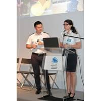Laura Escobar (right) and Joe Li (left), Purser Trainers of HKCYIA, gave talks on cruise careers (Photo: HKCYIA)