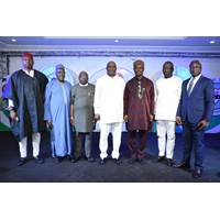 Board Chairman, Nigerian Maritime Administration and Safety Agency, NIMASA (3rd left) Deputy Governor, Delta State, Barrister Kingsley Otuaro (middle), Director General, NIMASA, Dr. Dakuku Peterside (3rd right) and other NIMASA Board member. (Photo:NIMASA)
