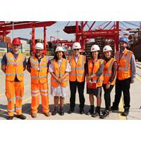 Left to right: Colin Mottershead, Shiphand/Tug Driver; Darrin Hyde, RTITB Trainer/Gantry Operator; Nusrat Ghani MP, Maritime Minister; Patrick Walters, Chief Operating Officer, Jo Scott, Group Head of Marketing; Emma Wilson, Digital Apprentice; Mark Reynolds, Shift Manager (Photo: Peel Ports)