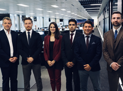 Rupert Lawson, Head of Tankers – Partner; Oliver Rae, Senior Suezmax Broker; Marialiki Christopoulou, Suezmax Broker; Ali Kader, Suezmax Broker; Dean Abrahams, Senior Suezmax Broker; Robert Boles, Global Suezmax Head (Photo: SSY)