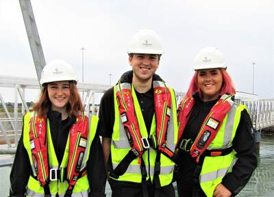 L-R Current Galloper apprentices Rosie Underhill, Thomas Bryant and Eve Dupuy in 2019.