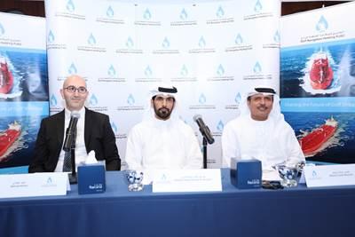 From right to left: Khamis Juma Buamim, Group CEO, Abdulla Saeed Abdulla Brook Al Hemeiri, Chairman, and Ahmad Al Kilani, Board Member of Gulf Navigation (Photo: Gulf Navigation)