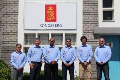 From left to right: Alastair Pettie, Rune Haukom, Steve Nell, Shaun Ortell, Pierre Marais, Wojtek Kowalczyk  (Photo: Kongsberg Maritime)