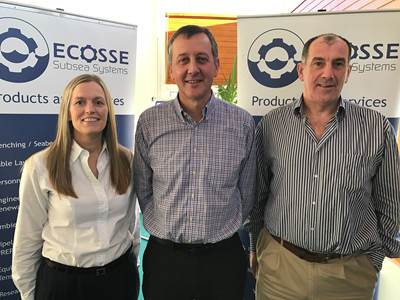 left to right: Ecosse Subsea Systems commercial manager Iain Middleton (center) with operations director Mo Petrie, left, and managing director Mike Wilson (Photo: ESS)