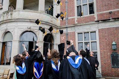 Webb Institute's Class of 2017 throwing their caps in the air after the 121st Commencement Ceremony. (Photo: Jonathan Wang, Webb Institute student, Class of 2020)