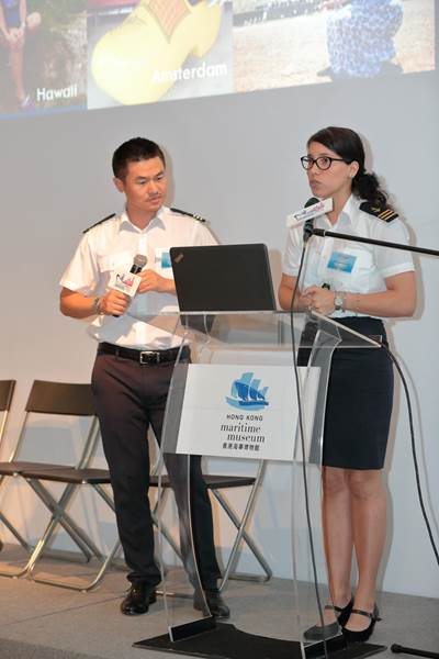 Laura Escobar (right) and Joe Li (left), Purser Trainers of HKCYIA, gave talks on cruise careers (Photo: HKCYIA)