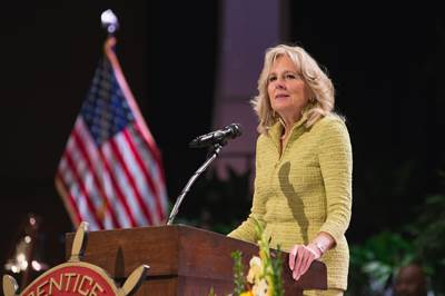 Jill Biden, the former Second Lady of the United States, delivers commencement address at The Apprentice School graduation. Photo by Ashley Cowan/HII