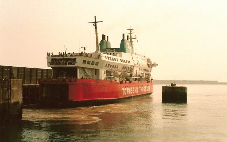 Herald Of Free Enterprise at the dock in Dover, Great Britain. While leaving the Belgian port of Zeebrugge on the night of 6 March 1987, the RoRo ferry left the harbor with her bow-door open, allowing the sea to rush in and flood her decks. She capsized in minutes, killing 193 passengers and crew. Photos: U.S. Coast Guard Archives
