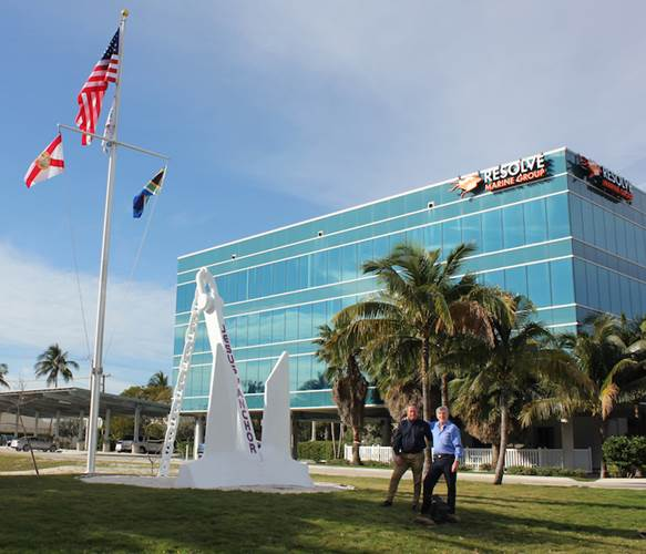 Nick Sloane and Joe Farrell outside of Resolve Marine Group's headquarters in Fort Lauderdale, Fla. (Photo: Resolve Marine Group)