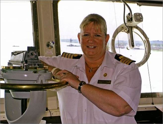 British Captain Sarah Breton was named the first female captain for P&O Cruises in 2010, and currently captains Fathom's 704-passenger Adonia (Photo: Carnival Corporation)