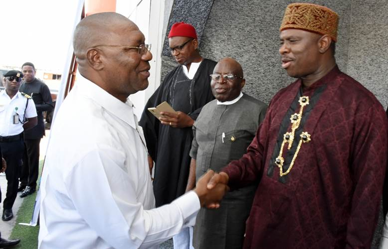 NIMASA General Director, Dr. Dakuku Peterside in a handshake with the Deputy Governor, Delta State, Barrister Kingsley Otuaro during the Day of the Seafarers 2018   (Photo:NIMASA)