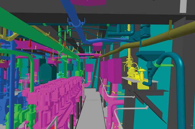 Northrop Grumman Shipbuilding completed the development of the detail design phase for the Gerald R. Ford (CVN 78) in the 3-dimensional Product Model. Image: HII/NNS